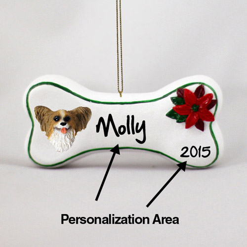 Papillon Personalized Dog Bone Christmas Ornament