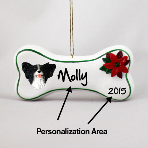 Papillon Personalized Dog Bone Christmas Ornament Black-White