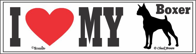 Boxer Bumper Sticker I Love My