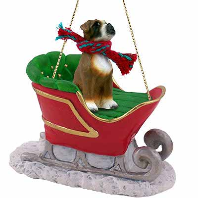 Boxer Sleigh Ride Christmas Ornament Uncropped