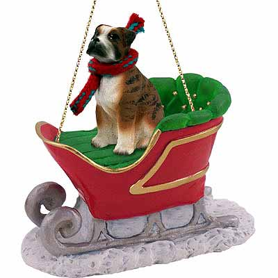 Boxer Sleigh Ride Christmas Ornament Brindle Uncropped
