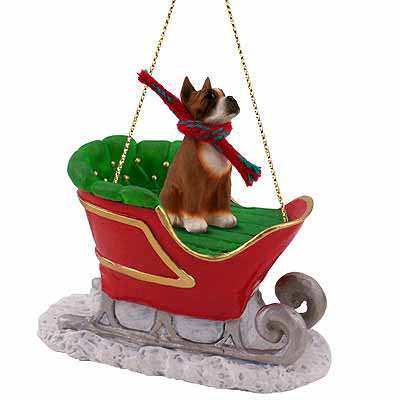 Boxer Sleigh Ride Christmas Ornament