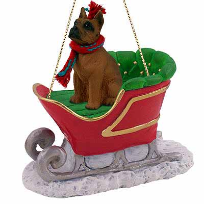Boxer Sleigh Ride Christmas Ornament Tawny