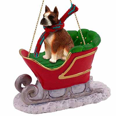 Boxer Sleigh Ride Christmas Ornament Brindle