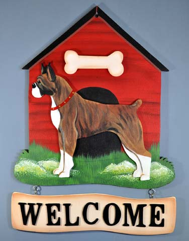 Boxer Welcome Sign Brindle
