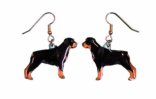 Rottweiler Earrings Hand Painted Acrylic