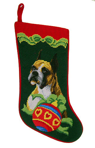 Boxer Christmas Stocking Green Background
