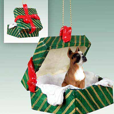 Boxer Gift Box Christmas Ornament