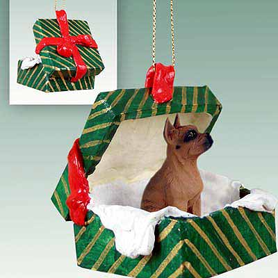 Boxer Gift Box Christmas Ornament Tawny