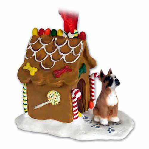 Boxer Gingerbread House Christmas Ornament