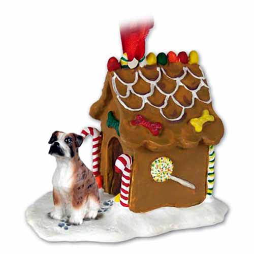 Boxer Gingerbread House Christmas Ornament Brindle Uncropped