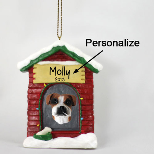 Boxer Personalized Dog House Christmas Ornament Uncropped