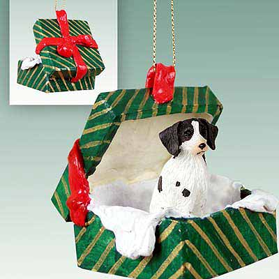 Brittany Gift Box Christmas Ornament Liver-White