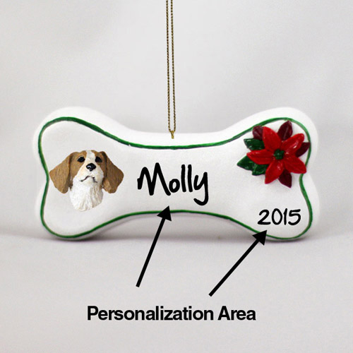 Brittany Personalized Dog Bone Christmas Ornament