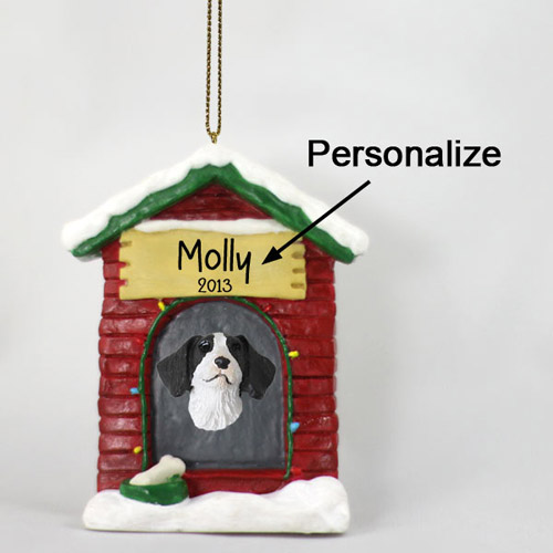Brittany Personalized Dog House Christmas Ornament Liver-White