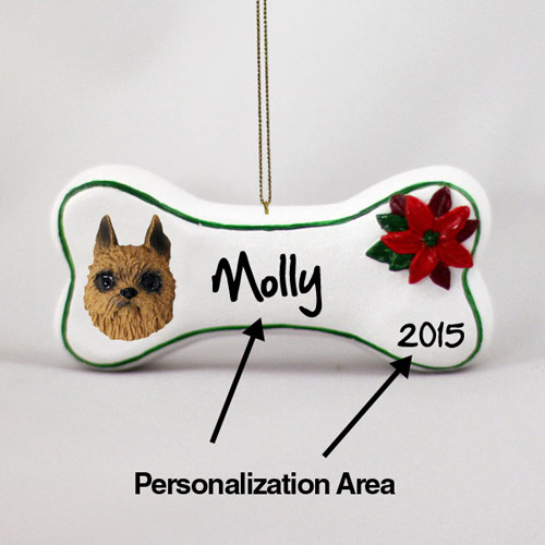 Brussels Griffon Personalized Dog Bone Christmas Ornament