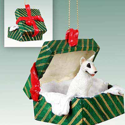 Bull Terrier Gift Box Christmas Ornament