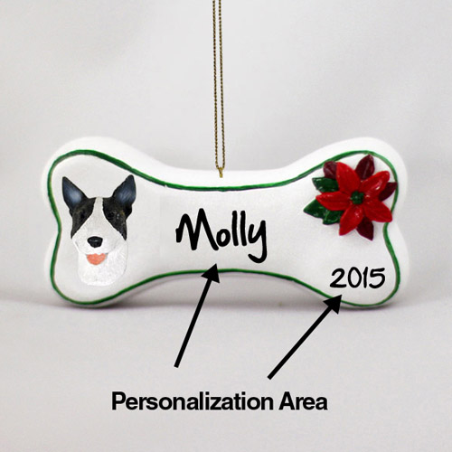 Bull Terrier Personalized Dog Bone Christmas Ornament Brindle