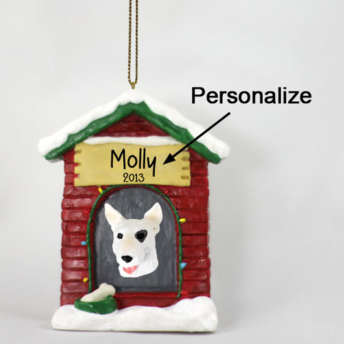 Bull Terrier Personalized Dog House Christmas Ornament