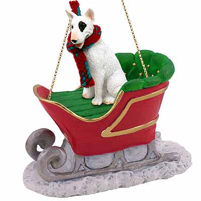 Bull Terrier Sleigh Ride Christmas Ornament