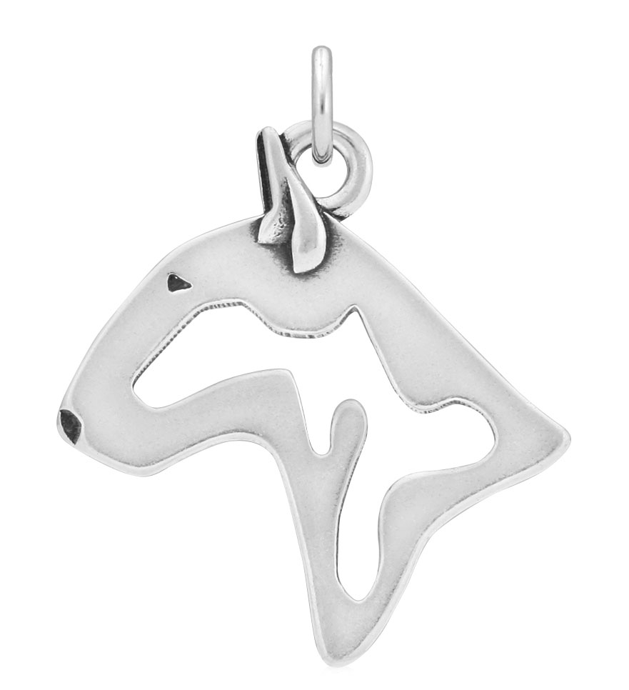 Sterling Silver Bull Terrier Head Necklace