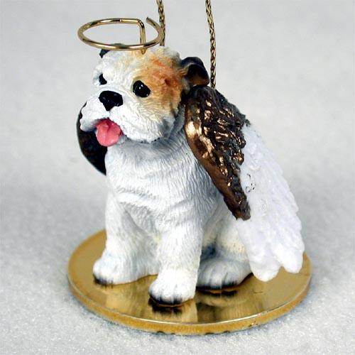 Bulldog Angel Ornament White