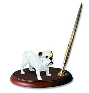 Bulldog Pen Holder (White)