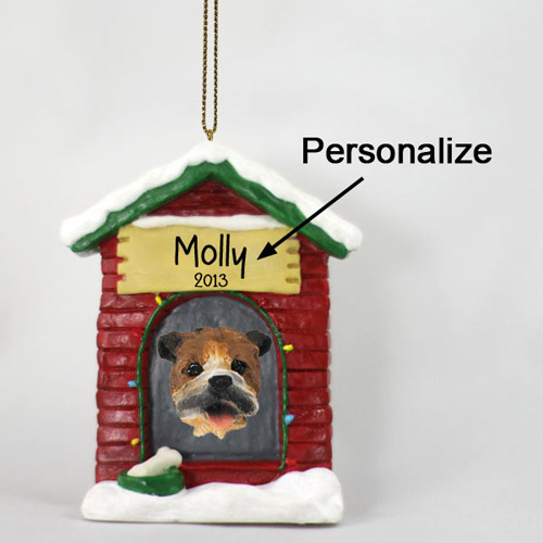 Bulldog Personalized Dog House Christmas Ornament