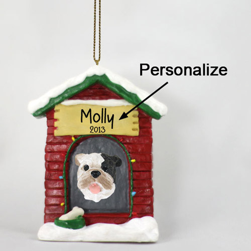 Bulldog Personalized Dog House Christmas Ornament Brindle