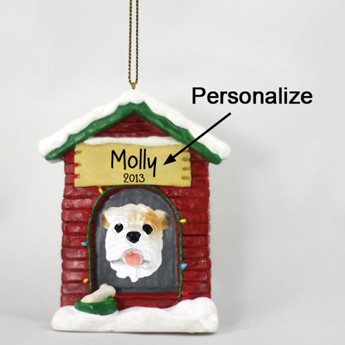 Bulldog Personalized Dog House Christmas Ornament White