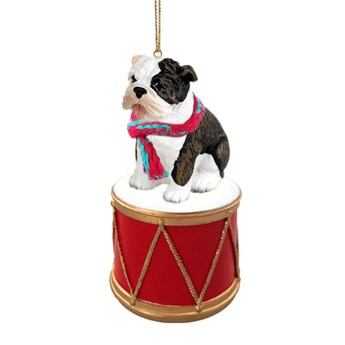 Little Drummer Brindle Bulldog Christmas Ornament