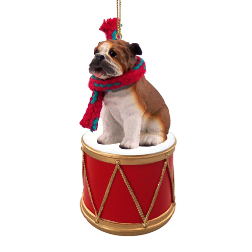 Little Drummer Bulldog Christmas Ornament