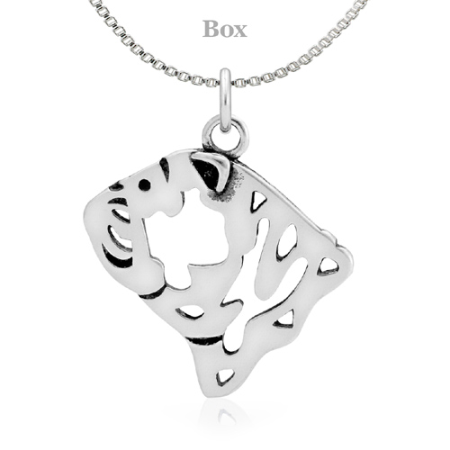 Sterling Silver Bulldog Head Necklace