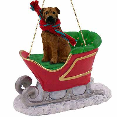 Bullmastiff Sleigh Ride Christmas Ornament