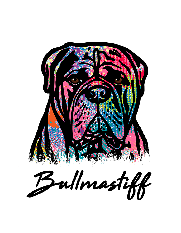 Bullmastiff T Shirt Colorful Abstract