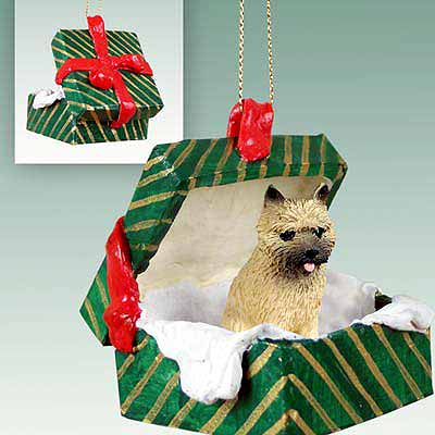 Cairn Terrier Gift Box Christmas Ornament Red