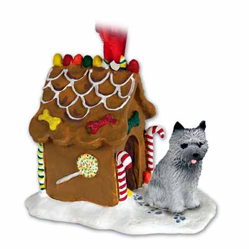 Cairn Terrier Gingerbread House Christmas Ornament Gray