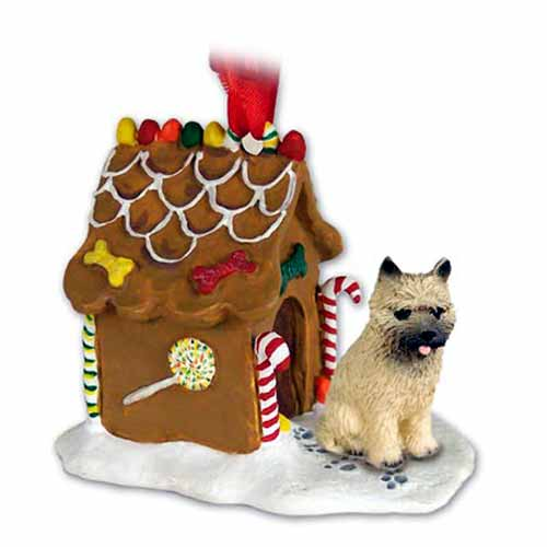 Cairn Terrier Gingerbread House Christmas Ornament Red