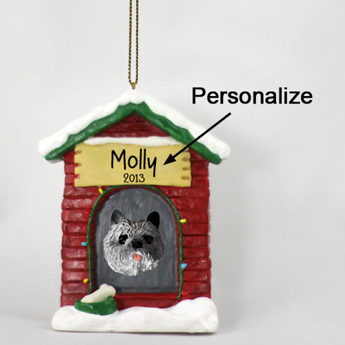 Cairn Terrier Personalized Dog House Christmas Ornament Gray