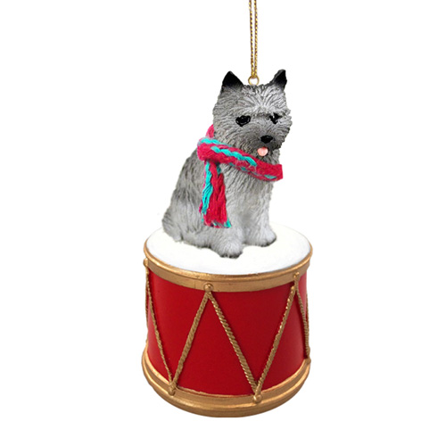Little Drummer Gray Cairn Terrier Christmas Ornament