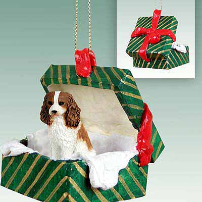 Cavalier King Charles Spaniel Gift Box Christmas Ornament Brown-White