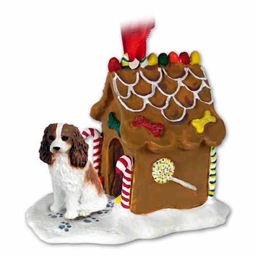 Cavalier King Charles Spaniel Gingerbread House Christmas Ornament Brown-White
