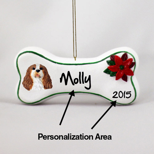 Cavalier King Charles Spaniel Personalized Dog Bone Christmas Ornament
