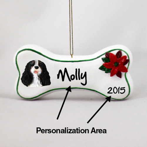Cavalier King Charles Spaniel Personalized Dog Bone Christmas Ornament Black-White