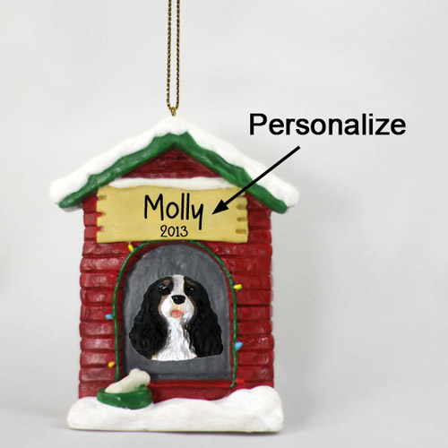 Cavalier King Charles Spaniel Personalized Dog House Christmas Ornament Black-White