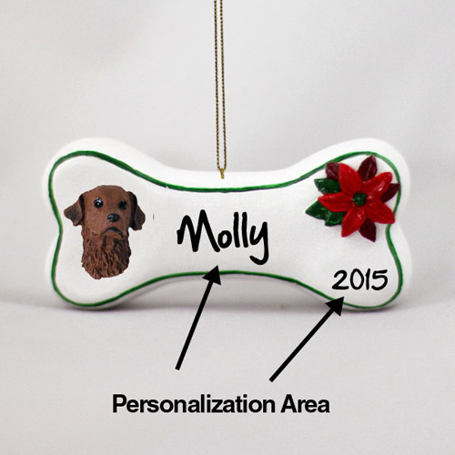 Chesapeake Bay Retriever Personalized Dog Bone Christmas Ornament