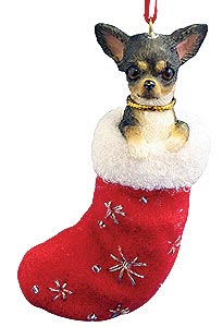 Chihuahua (Black and White) Christmas Stocking Ornament