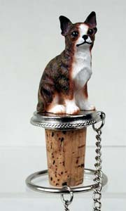Chihuahua Bottle Stopper (Brindle & White)