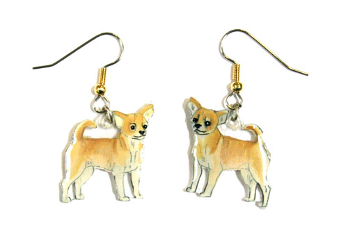 Chihuahua Earrings Tan/White Hand Painted Acrylic