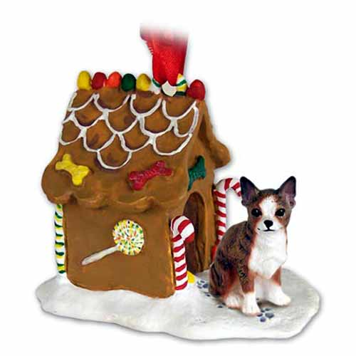 Chihuahua Gingerbread House Christmas Ornament Brindle-White